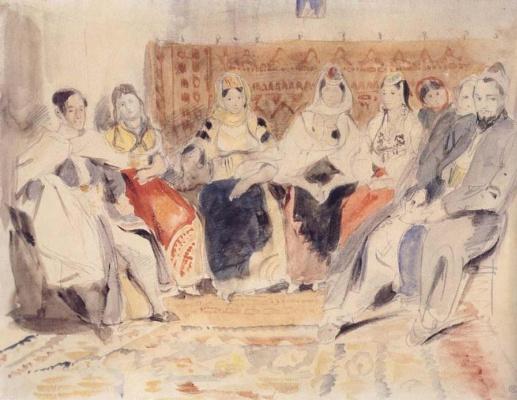 Eugene Delacroix. Men and women in the interior living room in Morocco