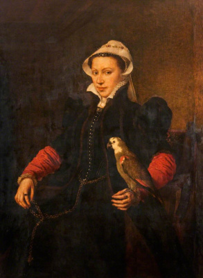 Antonis van Dashorst Mor. Portrait of a lady with parrot