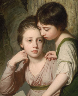 George Romney. Portrait of two girls. Elizabeth and Sophia Cumberland. Fragment