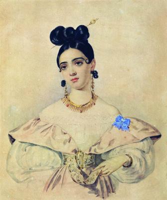 Александр Павлович Брюллов. Портрет А. Д. Баратынской. 1830-е