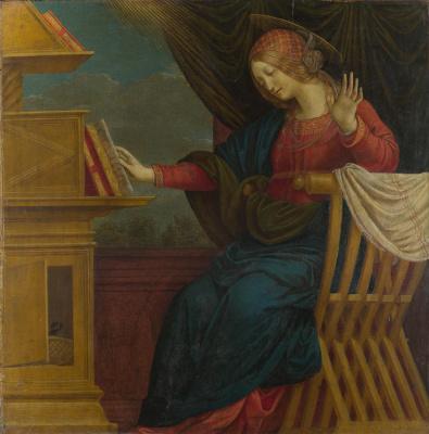 Благовещение, Дева Мария (правая панель)
