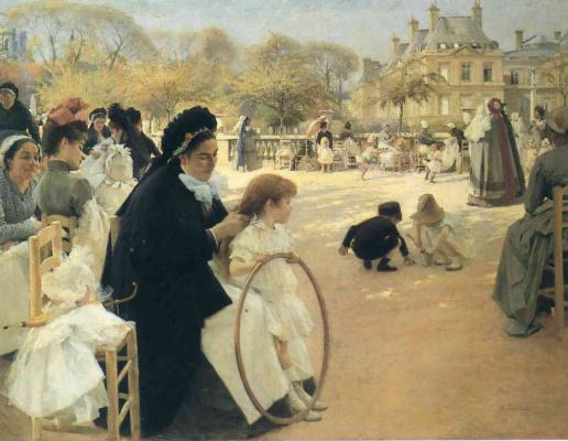 Albert Gustav Aristide Edelfelt. Luxembourg gardens, Paris