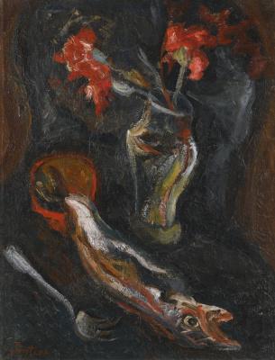 Haim Solomonovich Soutine. Flowers and fish