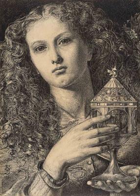 Энтони Фредерик Огастас Сэндис. Рисунок к картине «Дочь короля Пеллеса, несущая чашу Святого Грааля»