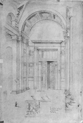 Рафаэль Санти. Пантеон в Риме, архитектурный эскиз