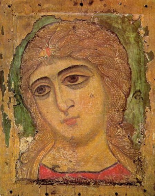 Icon Painting. Angel with Golden hair