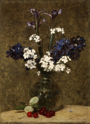 Henri Fantin-Latour. Still life: iris and hyacinths, with cherries and almonds on the table