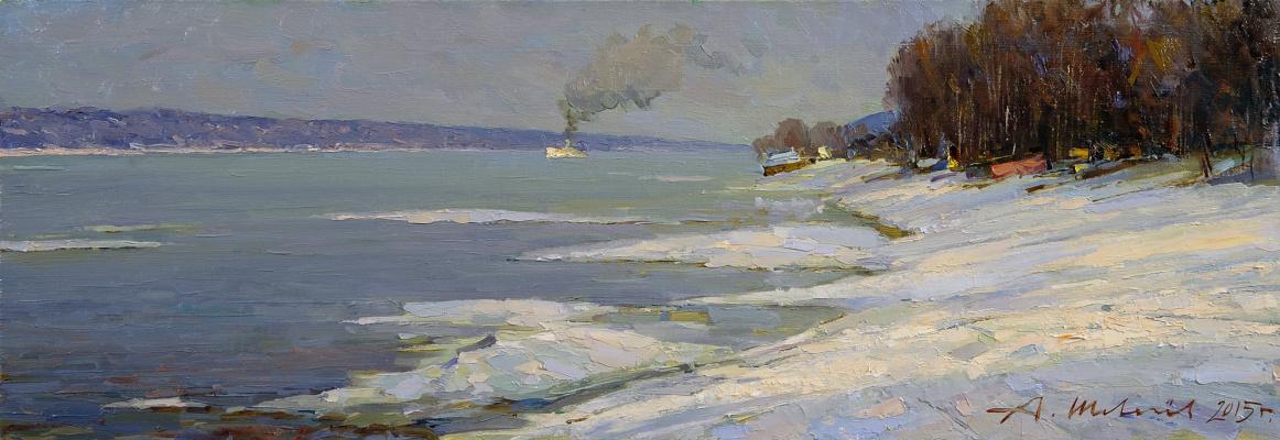 Alexander Shevelyov. Ice drift in Plese.Oil on canvas 23.5 X 68.5 cm. 2015