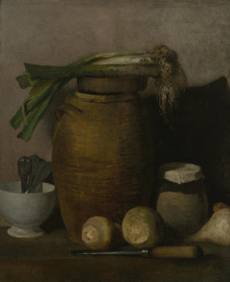 Jean-François Millet. Still life with dishes and vegetables