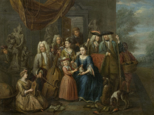Johann Georg Platzer. Family portrait with hunting trophies and musical instruments