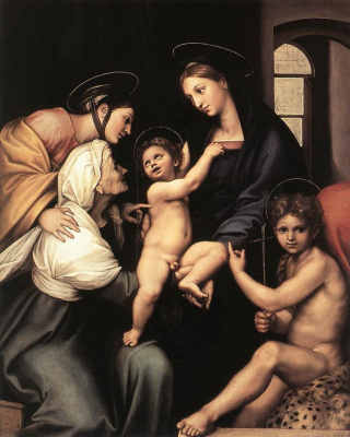 Raphael Santi. Madonna and child with Saint John the Baptist (the Madonna del Impannata or Madonna of the veil)