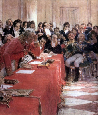 Ilya Efimovich Repin. A. S. Pushkin on the act in the Lyceum on 8 January 1815. Fragment