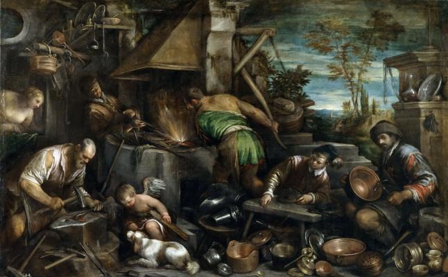Jacopo da Ponte Bassano. The Forge Of Vulcan