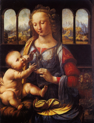 Leonardo da Vinci. The Madonna of the carnation