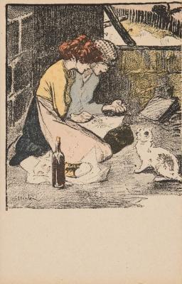 Theophile-Alexander Steinlen. Feeding cats