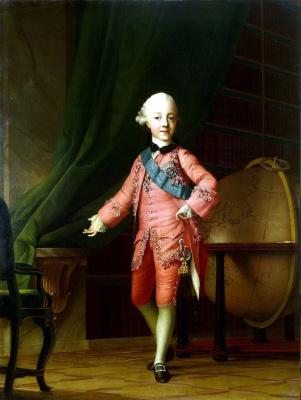 Виргилиус Эриксен. Портрет великого князя Павла Петровича в учебной комнате