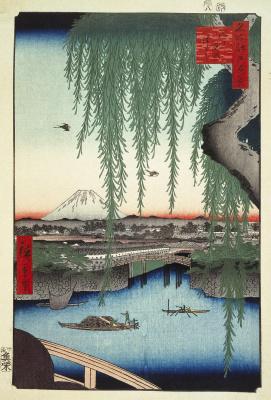 "Utagawa Hiroshige. The view from the bridge, Azumi. The series ""100 famous views of Edo"""