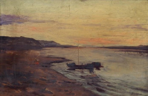 Maria Markovna Dzhagupova. Fishing boat in the bay