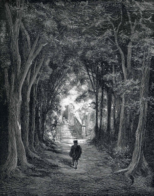 Paul Gustave Dore. Road in the forest