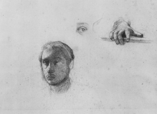 Edgar Degas. Sheet of sketches with a portrait and sketch hands