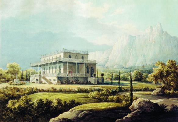 Никанор Григорьевич Чернецов. Вид дома Л.А. Нарышкина в Мисхоре. 1834