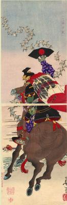 Tsukioka Yoshitoshi. Diptych: Tirano-but Atsumori and Kumagai, Naozane at the battle of Ichinotani