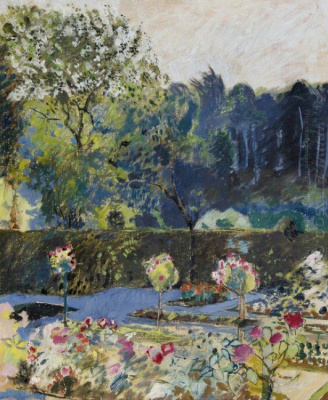 Cuno Amiè. A view of the garden and the forest behind the fence