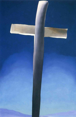 Georgia O'Keeffe. Grey cross on blue