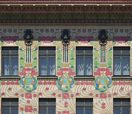 Koloman Moser. Majolikahaus, facade, Linke Wienzeile 40