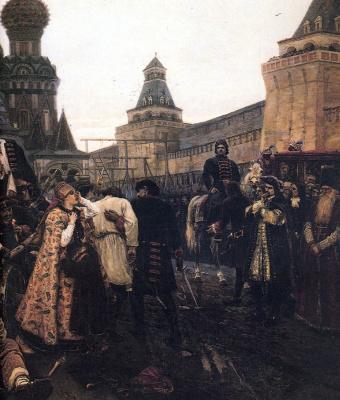 Vasily Ivanovich Surikov. The morning of the Streltsy execution. Fragment
