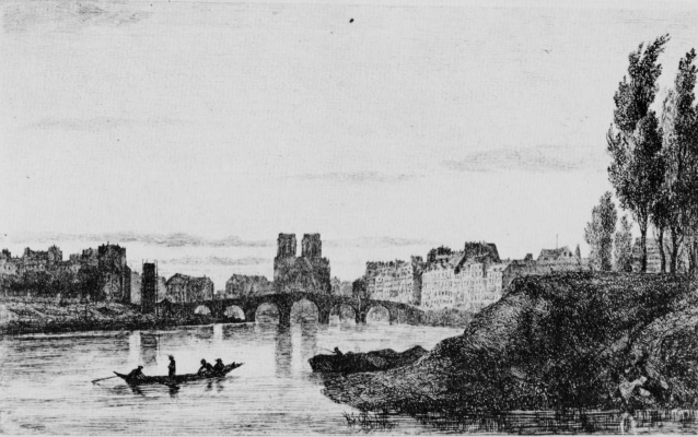 Charles-Francois Daubigny. View of Notre-Dame de Paris and Ile Saint-Louis
