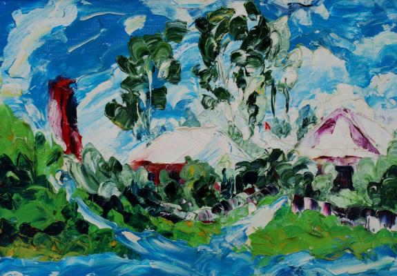 Kandinsky-DAE. Fresh noon. Ocher. Oil on canvas, 51-72. 1972