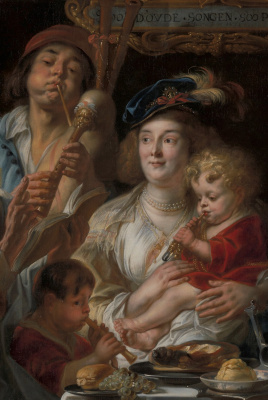 "Jakob Jordaens. ""The old sing, the young play."" Snippet: family with children"