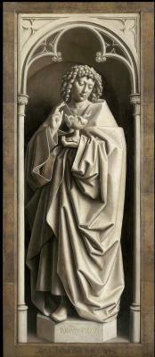 Jan van Eyck. The Ghent altar with closed doors. John the Evangelist (detail)