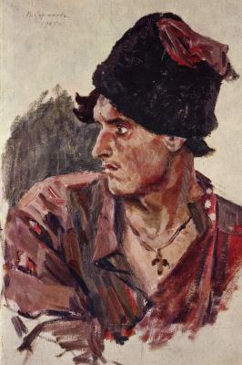 Vasily Ivanovich Surikov. Head of a young Cossack