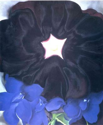 Джорджия О'Киф. Черная роза и голубой шпорник
