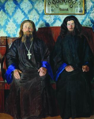 Борис Михайлович Кустодиев. Портрет священника и дьякона (Священники. На приеме)
