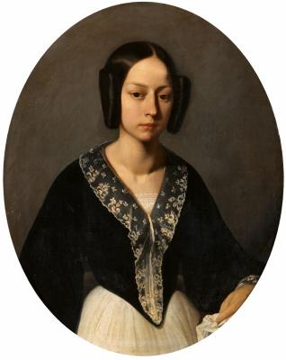 Jean-François Millet. Portrait of a young woman (Madame Lefran)