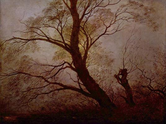 Caspar David Friedrich. Trees in the moonlight