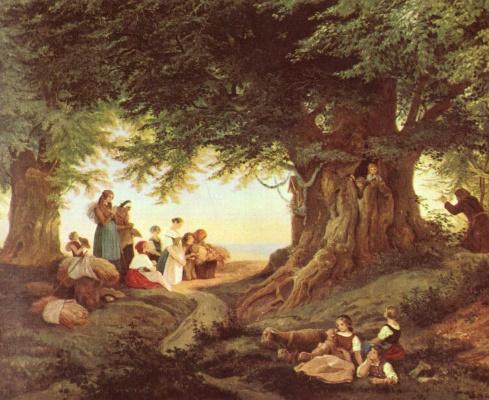 Адриан Людвиг Рихтер. Вечеря в лесу