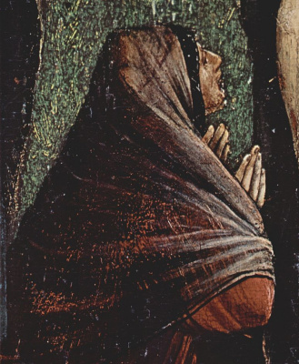 Matthias Grünewald. Small crucifixion scene: Christ on the cross, Mary, Mary Magdalene and St. John, detail: St. Mary Magdalene