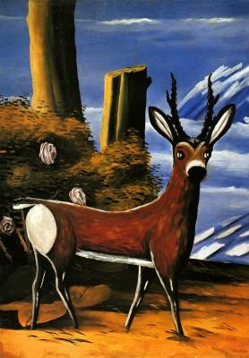 Niko Pirosmani (Pirosmanashvili). Deer in a landscape