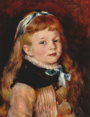Pierre-Auguste Renoir. Grimpel lady with blue ribbon in hair