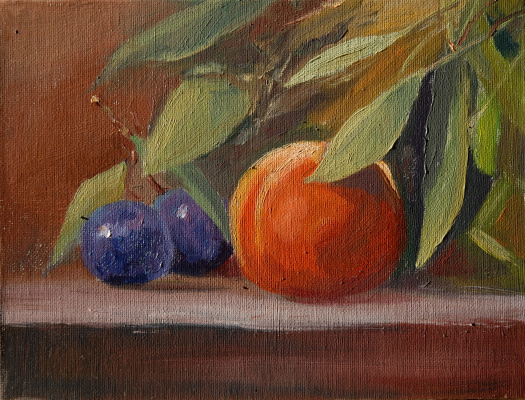 Sergey Valentinovich Karetnikov. Still life with plums and peach
