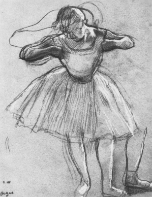Edgar Degas. Ballerina, combing a dress, in the side light