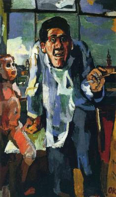 Oskar Kokoschka. Self-portrait near the easel
