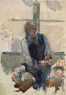Giovanni Giacometti. Young man sitting against the light. Paris