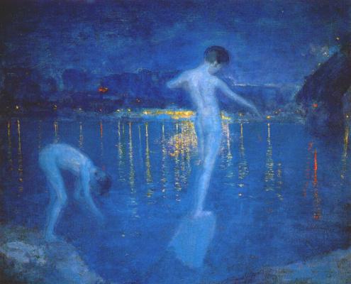 Фредерик Грей. Мальчики купаются в реке Миссисипи