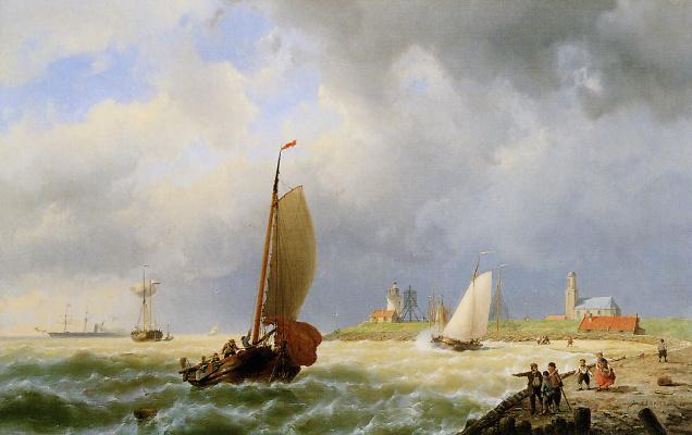 Ян Куккук. Корабли возле берега2