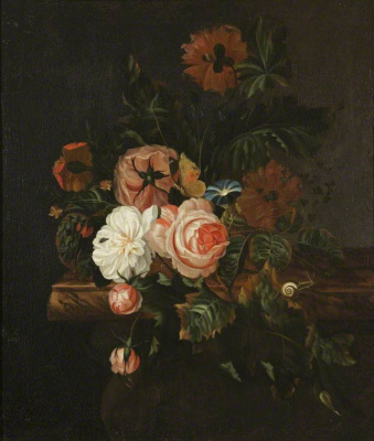 Willem van Aelst. Roses, poppies and a snail